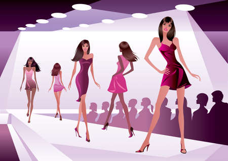Fashion models represent new clothes - vector illustration Stock Illustratie