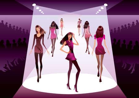 catwalk model: Fashion models on review - vector illustration