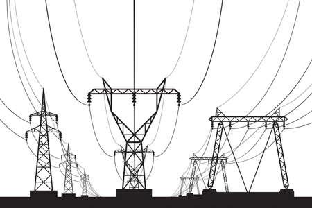 관점에서 전기 전송 타워 일러스트