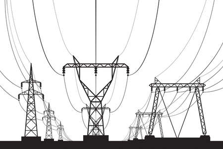 Electrical transmission towers in perspective