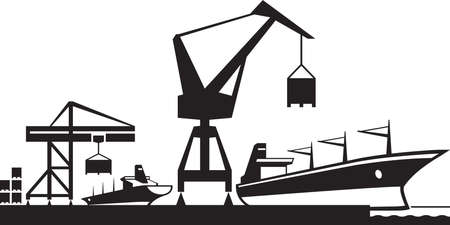 ships: Cargo terminal port  vector illustration