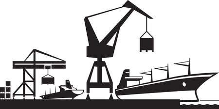 literas: Puerto terminal de carga ilustración vectorial