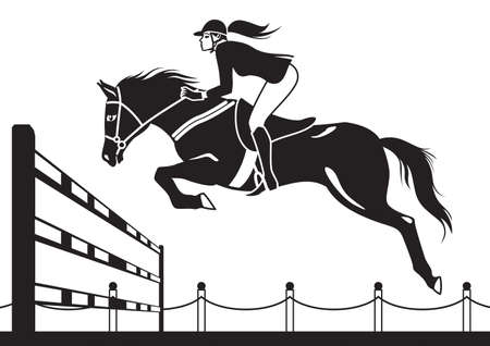 femme et cheval: Course Jockey vecteur cheval illustration