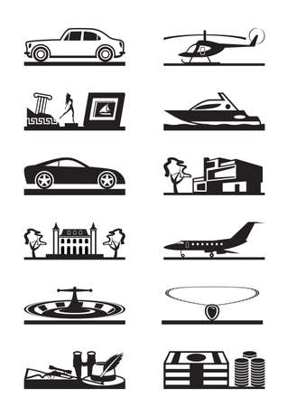 private jet: Luxury goods vehicles and property  vector illustration
