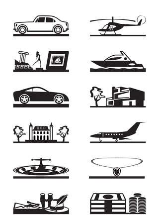 luxury goods: Veh�culos de mercanc�as de lujo y la ilustraci�n vectorial propiedad