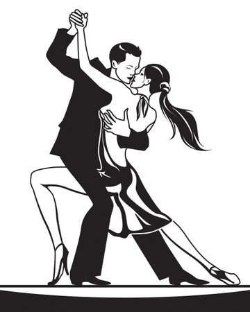 Pair of dancers in ballroom dance  vector illustration Stock Illustratie