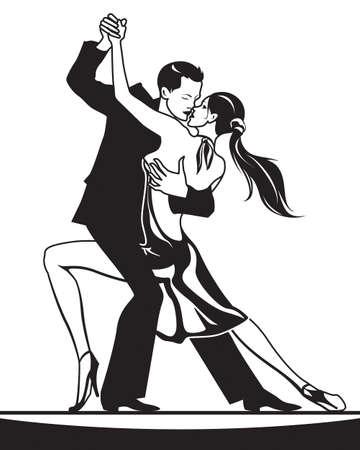 Pair of dancers in ballroom dance  vector illustration Illustration