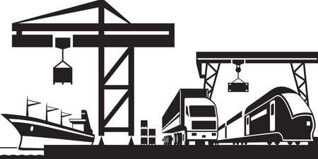 Cargo escena terminal de ilustración vectorial Foto de archivo - 41064545