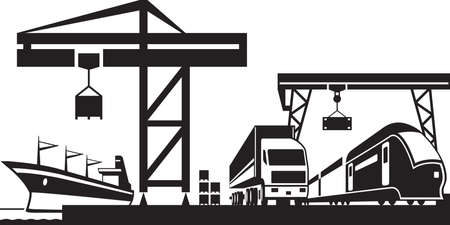 goods station: Cargo terminal scene  vector illustration