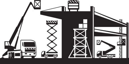 Scaffolding and lifting machinery  vector illustration
