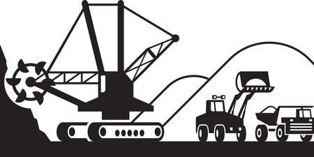 dug: Heavy mining machinery  vector illustration Illustration