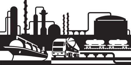 camión cisterna: Procesamiento y transporte de petróleo y gas Vectores