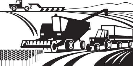 agricultural machinery: Agricultural machinery in the field  illustration Illustration
