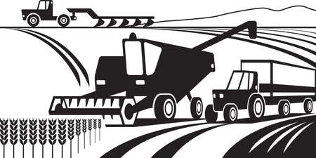 Agricultural machinery in the field  illustration Illustration