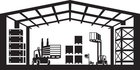 hangar: Industrial warehouse scene  vector illustration