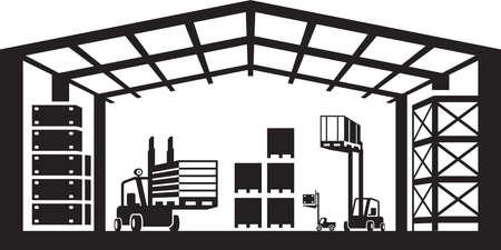 carretillas almacen: Nave industrial ilustración vector de la escena Vectores