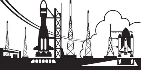 departing: Spaceport with departing rockets illustration
