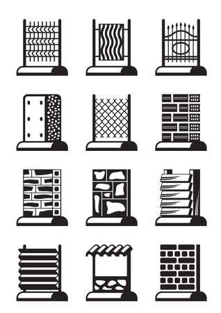 insulation: Metal, wood and brick fences - vector illustration Illustration