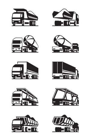 Diferentes camiones con remolques - ilustración vectorial Foto de archivo - 42663160