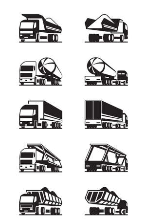 hopper: Different trucks with trailers - vector illustration