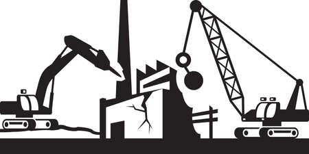 demolition: Demolition of industrial buildings - vector illustration