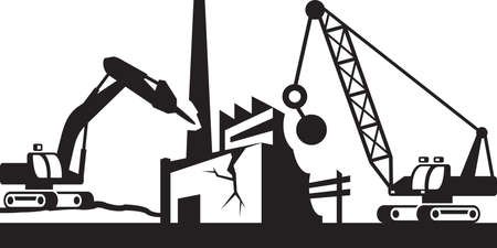 Demolition of industrial buildings - vector illustration