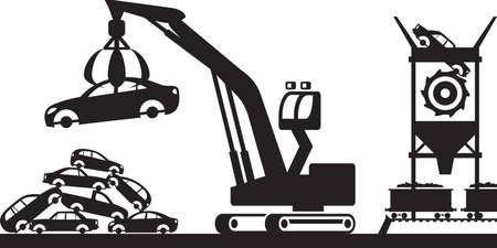 scrap: Collecte et traitement des déchets - illustration vectorielle Illustration