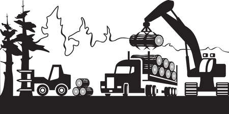 Timber harvesting in the forest - vector illustration
