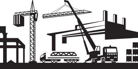 installing: Installing crane on construction site Illustration