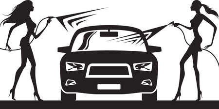 Car wash with fashion models - vector illustration Illustration