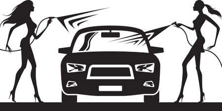 lavado: Lavado de coches con modelos de la moda - ilustración vectorial