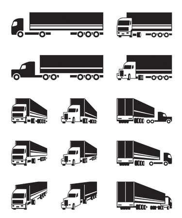 Trucks in different perspective - vector illustration Vettoriali