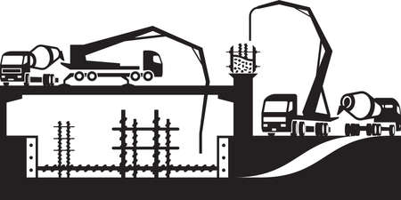 pouring: Pouring concrete on construction site
