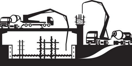 Verter el hormigón en obra de construcción