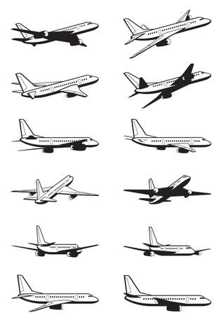 airplane take off: Passenger airplane in perspective - vector illustration Illustration