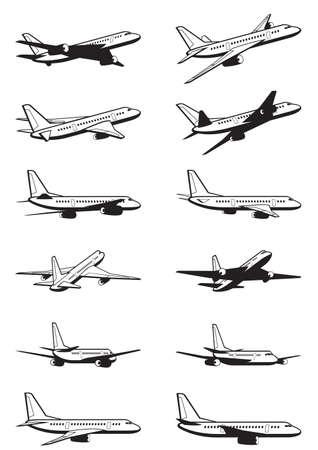 Passenger airplane in perspective - vector illustration Illustration
