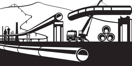 Construction of industrial pipelines - vector illustration Ilustração