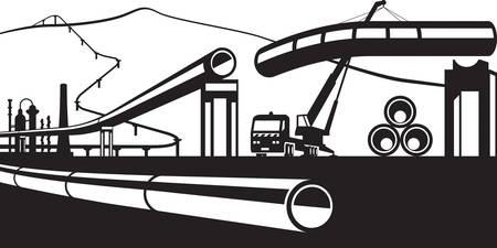 Construction of industrial pipelines - vector illustration Illustration