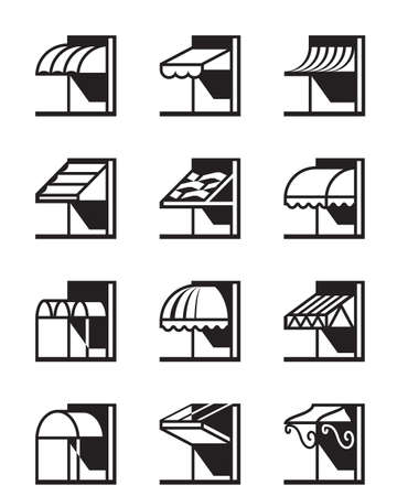 Awnings and canopies of buildings - vector illustration 矢量图像