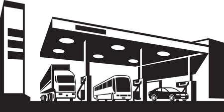 Vehicles at gasoline station - vector illustration Illustration