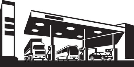 petrol pump: Vehicles at gasoline station - vector illustration Illustration