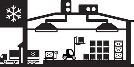 Industriële koelcel scene - vector illustratie