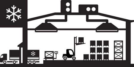 resfriado: Industrial escena almac�n fr�o - ilustraci�n vectorial