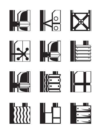 inox: Suspended facades of buildings - vector illustration Illustration