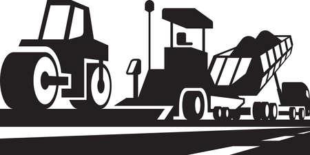 asphalt: Asphalting of roads, streets and highways Illustration