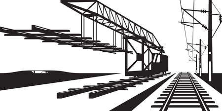 power pole: Construction of railway track - vector illustration