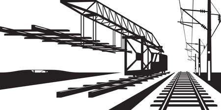 railway track: Construction of railway track - vector illustration