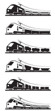 rail route: Passenger and freight trains - vector illustration