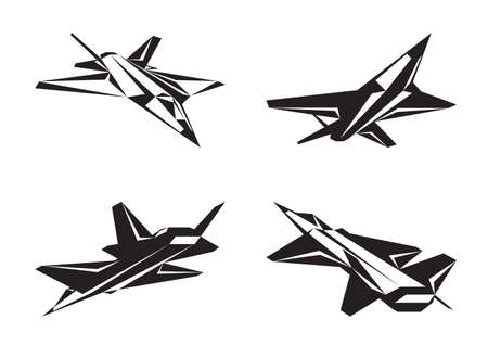 modern fighter: Military aircraft in perspective - vector illustration