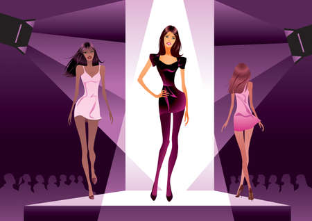 runway fashion: Fashion show in the spotlight - vector illustration